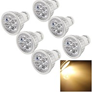 6pcs youoklight® gu10 4w cri = 80 300-350lm 4-high power led 3000k luzes brancas quentes brancas (220-240v)