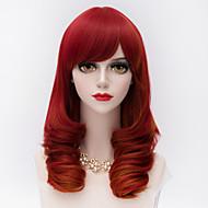 divat közepes hosszú perverz göndör haj oldalsó bumm piros szintetikus harajuku lolita party paróka