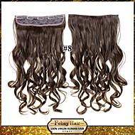 clip in / op krullende lichtbruin synthetische hair extensions