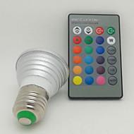3W E26/E27 LED-kohdevalaisimet 1 Teho-LED 130 lm RGB Kauko-ohjattava AC 85-265 V 1 kpl