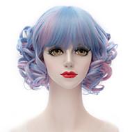 népszerű szintetikus mix kék és rózsaszín rövid perverz göndör lakás bumm harajuku lolita purecas hölgy / lány divat fél paróka
