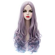 μόδα γκρι κλίση μπλε μακρύ μπούκλα Harajuku κυματιστά μαλλιά u μέρος purecas Lolita μόδας γυναικών κόμμα κορίτσι συνθετική περούκα