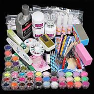Promotion! 42PCS Acrylic Powder Liquid Brush Glitter Clipper Primer File Nail Art Tips Set Kit