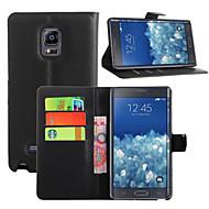 Voor Samsung Galaxy Note Kaarthouder / Portemonnee / met standaard / Flip hoesje Volledige behuizing hoesje Effen kleur PU-leer Samsung