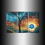 håndmalte moderne treet solen månen veggen kunst dekorasjon oljemaleri på lerret 3pcs / stille uten ramme