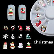 1Box mixed Alloy 3D Nail Art Christmas Glitter Rhinestones Decorations For Nails