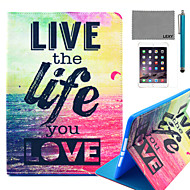 LEXY® Love Life Pattern PU Leather Flip Stand Case with Screen Protector and Stylus for iPad Air 2/iPad 6
