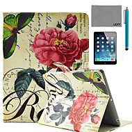 LEXY® China Rose Stamp Pattern PU Leather Flip Stand Case with Screen Protector and Stylus for iPad Air/iPad 5
