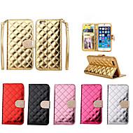 贅沢なキラキラ光るダイヤモンドのボタンiphone 6 / 6S用の光沢のある表面PUレザー財布スタンドケース(アソートカラー)をチェック