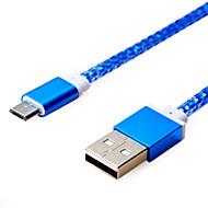 1m 3.28ft aluminium + pvc USB2.0 laddningsdatakabel för Samsung mobiltelefon (blandade färger)