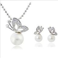 ジュエリーセット ネックレス/イヤリング 高級ジュエリー 真珠 人造真珠 ラインストーン 銀メッキ 模造ダイヤモンド 合金 アニマル バタフライ のために 日常 カジュアル 1セット ウェディングギフト
