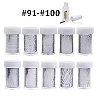 New 100Designs Nail Art Transfer Foil Paper 10pcs + 1pcs Nail Foil Glue (from #91 to #100)