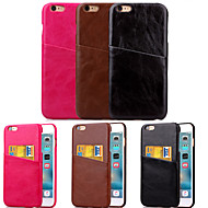 For iPhone 6 etui iPhone 6 Plus etui Kortholder Etui Bagcover Etui Helfarve Hårdt Kunstlæder for iPhone 6s Plus/6 Plus iPhone 6s/6