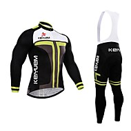KEIYUEM® Cycling Jersey with Bib Tights Men's Long Sleeve BikeWaterproof / Breathable / Quick Dry / Windproof / Insulated / Rain-Proof /