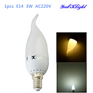 1PCS YouOKLight® E14 3W CRI=70 180lm 6-SMD2835 Warm White Light Cool White Light LED Candle Bulbs(AC 220V)