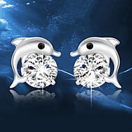 Kolczyki na sztyft Kryształ Modny Srebro standardowe Kryształ Animal Shape Delfin Silver Biżuteria Na Ślub Impreza Codzienny 2pcs