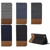aleta de luxo caixa de couro da lona com suporte de slot de cartão carteira para iPhone 5 / 5s