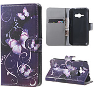 Purple Butterfly Magnetic PU Leather Wallet Flip Full Body Case With Stand for Samsung Galaxy J1 Ace J110