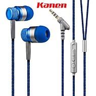 Kanen 3,5 mm hands-free stereo i ear låg bas headset med mikrofon för smartphones