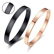 Valentine's Day Gifts Personalized Couple's Jewelry Lovers Titanium Steel Glod/Black Bracelets(One Pair)
