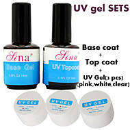 5pcs/Set BASE COAT + TOP COAT UV Gel clear pink white Foundation Nail Art Soak Off Color Polish Builder Tip Glue sets