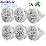 YouOKLight® 6PCS MR16 4W 320lm 3000K 4-High Power LED Warm White Light Spotlight - Silver(DC12V)