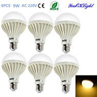YouOKLight® 6PCS E27 9W 15*SMD5630 700LM 3000K Warm White Light  LED Energy saving Globe Bulbs (AC 220V)