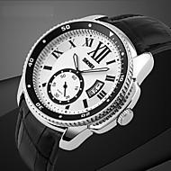 couro negócio da moda relógio de pulseira de quartzo dos homens
