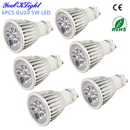 YouOKLight® 6PCS GU10 5W 450lm 3000K/6000K  5-High Power LED SpotLight Bulb Lamp  (AC110-120V/220-240V)-Silver