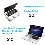 "ultra tynn tpu tastaturet dekselet + metall resten beskyttende film og berøringspanel membran for 13,3 ""/15.4"" macbook pro"