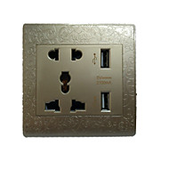Double USB Gold Engraved Multifunctional 5 Hole Socket