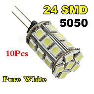 10xg4 3W 24x5050smd luz branca / branca quente lâmpada LED de milho (DC 12V)