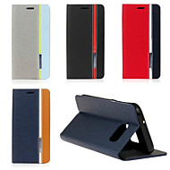 For Samsung Galaxy S7 Edge Med stativ Flip Etui Heldækkende Etui Linjeret / bølget Kunstlæder for SamsungS7 edge S7 S6 edge plus S6 edge