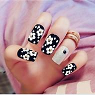 24pcs black dot blomst negle tips