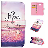 For Samsung Galaxy Case Card Holder / with Stand / Flip / Magnetic / Pattern Case Full Body Case Word / Phrase PU Leather SamsungA5(2016)