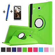 Pour Avec Support Clapet Rotation 360° Coque Coque Intégrale Coque Couleur Pleine Dur Cuir PU pour Samsung Tab E 9.6