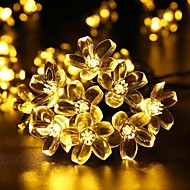 King Ro solar 26.24ft 60LED Blossoms Christmas Party Decoration Light Outdoor Waterproof Garden String Lights