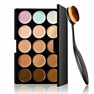 15 farver kontur ansigtscreme makeup concealer palette + oval makeup børste fundament creme værktøj