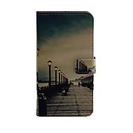 Varten Samsung Galaxy kotelo Lomapkko / Korttikotelo / Tuella / Flip Etui Kokonaan peittävä Etui Kaupunkinäkymä Tekonahka SamsungJ5