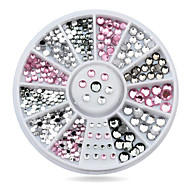 1wheel Pink Grey Rhinestones 3d Nail Art Decorations