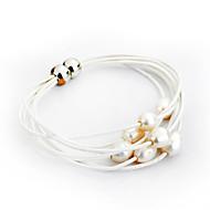 Dames Armbanden met ketting en sluiting Strand Armbanden Lederen armbanden Survival Armband Parel Leder Verzilverd Wit Zwart Sieraden Voor