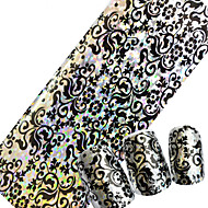100cmx4cm Glitter DIY Nails Transfer Polish Glue Decorations Nail Foils Nail Art Laser Flower Designs Adhesive Sticker