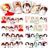 1pcs  Water Transfer Stickers Beautiful Girl Image  Fashion Nail Art C232-235