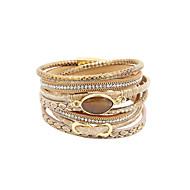 Damskie Bransoletki Wrap luksusowa biżuteria Wielowarstwowy Ręcznie wykonane Osobiste Skórzany Kryształ górski Imitacja diamentu Stop