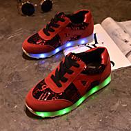 femmes conduit chaussures usb charge baskets mode similicuir extérieur / sport / casual noir / rouge