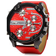 Men's Military Watch Calendar Dual Time Zones Three Time Zones Quartz Leather Band Cool Luxury Black Blue Red
