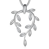 여성용 팬던트 목걸이 보석류 Leaf Shape 은 도금 베이직 디자인 보석류 제품 결혼식 파티 특별한 때 생일 약혼 일상 캐쥬얼 크리스마스 선물