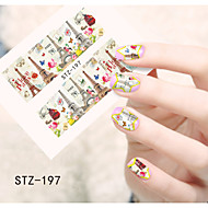 1pcs  Water Transfer Nail Art Stickers Beautiful Flower Cartoon Image Iron Tower Nail Art Design STZ196-200