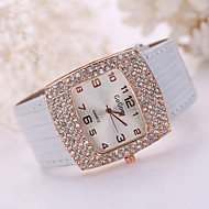 Women's Large Crystal Case Gold Leather Band Wrist Fashion Dress Watch Jewelry for Wedding Party Cool Watches Unique Watches