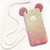 cassa del telefono mickey orecchie TPU pendenza scintillio cordicella per iPhone 5 / 5s / SE